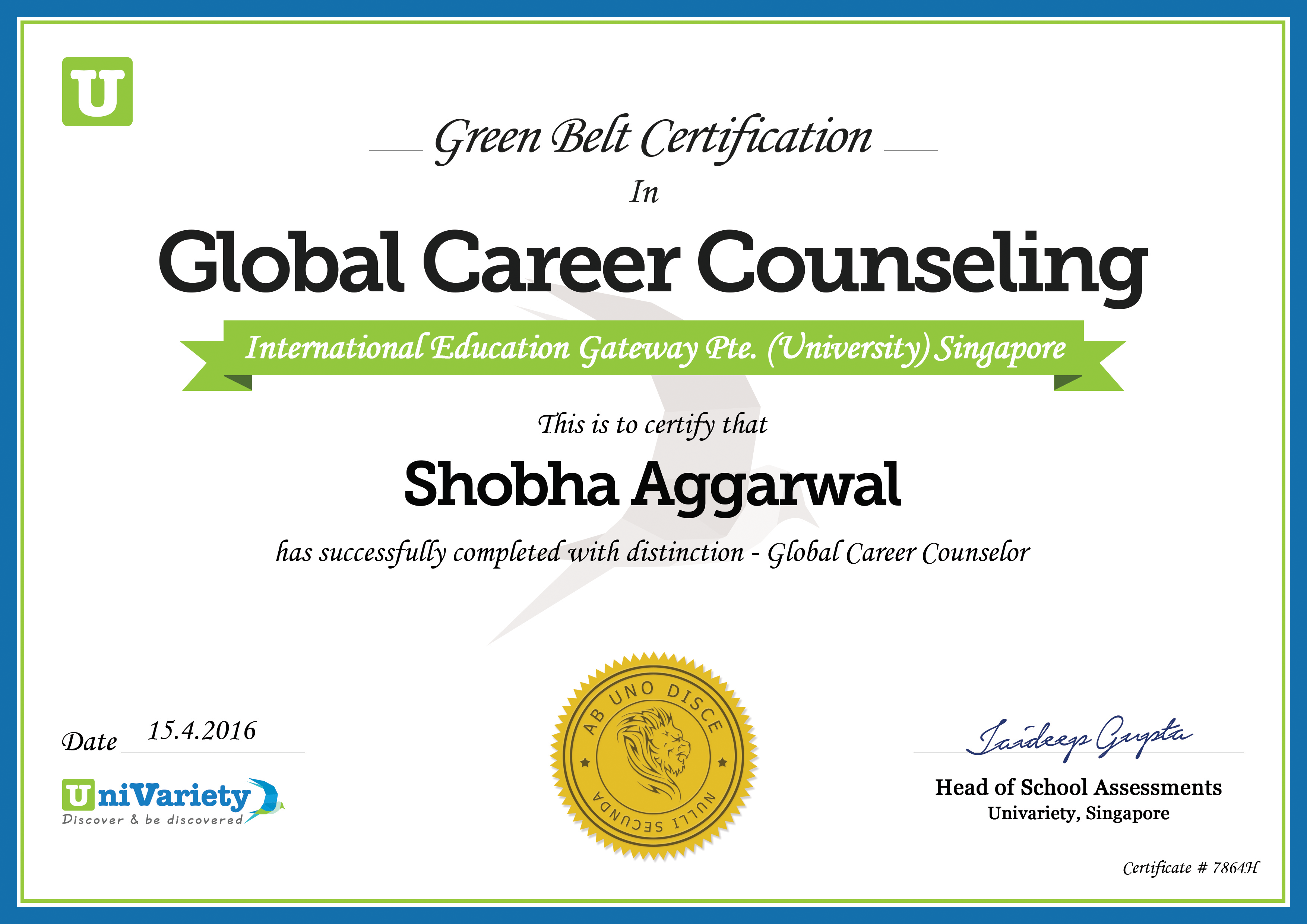 Global career counselor green belt certification univariety and ucla certificates xflitez Choice Image